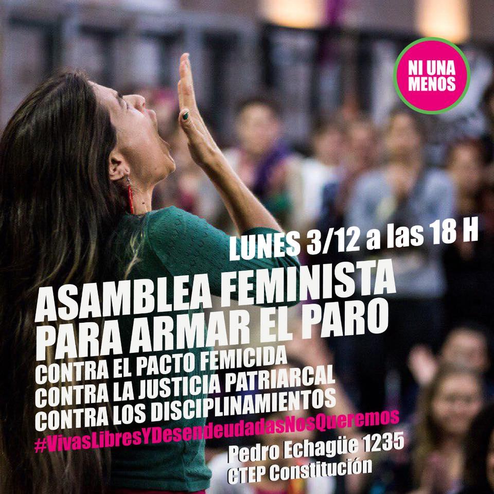 ASAMBLEA: lunes 3/12 - 18hs PARO DE MUJERES: viernes 7/12 JUSTICIA POR LUCÍA PEREZ Y TODES